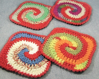 Absorbent handcrafted coaster set, colorful crochet coasters, gift for him, bar decor, picnic table accessory, flower vase mat, snack mat