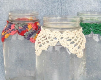 rustic mason jar cozy, hippie crochet wrap, you pick the color, great decor for home, wedding, gifts