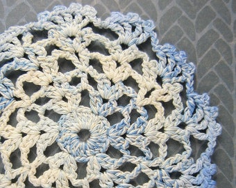 Blue and white dollhouse doily, miniature crochet doily, centerpiece, accent rug, handcrafted dollhouse decor