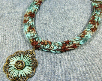 Crochet bib necklace, turquoise bronze filigree pendant, ready to ship statement necklace, handcrafted crochet necklace