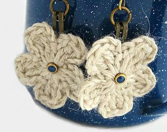 Boho crochet earrings, white crochet flower earrings, ready to ship, gifts under 10, gifts for her