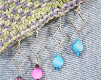 Casual dangle earrings, lightweight and comfortable, diamond shape with mother of pearl drop, you pick the color, ready to ship