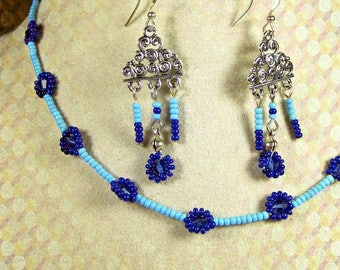Blue daisy chain choker necklace, matching dangle earrings, ready to ship, gifts for her