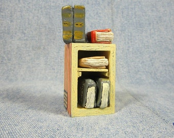 Miniature bookshelf and faux dollhouse old books, polymer clay books and convertible dollhouse shelf or table