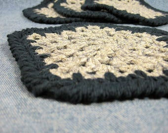 Crochet coaster for men, crochet coaster set, four drink coasters, gifts for him