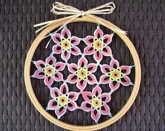 Crochet wall hanging, dramatic floral crochet wall art, hippie decor
