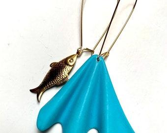 Mermaid + Fish dangle earrings