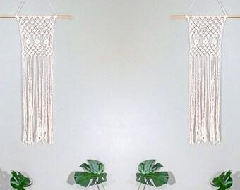 Modern Macrame Wall Hanging- Fringe Wall Accent- Bohemian Decor- Dorm Decor~ Contemporary Room Decor- White Wall Accent- BohoChic Home Decor