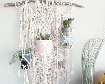 CUSTOM~ 3 Plant Macrame Hanging Planter- Wall Accent- Bohemian Decor- Dorm Decor~ Modern Macrame- White Wall Accent- BohoChic Home Decor