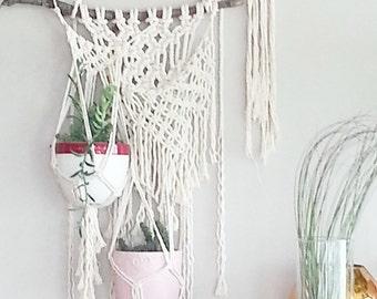 Macrame Hanging Planter- Wall Accent- Bohemian Decor- Dorm Decor~ Planter~ Modern Macrame- White Wall Accent- Boho Home Decor-  BohoChic