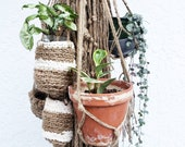 Plant Lover Gift Set- 5 Natural Jute Hanging Planters- Wall Accent- Bohemian Decor- Dorm Decor Modern Macrame- Urban Wall Accent- BohoChic