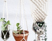 THREE Shabby Chic Hanging Planters- Wall Accent- Bohemian Decor- Dorm Decor Planter Modern Macrame- White Wall Accent- Boho Home Decor