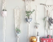Set of THREE Shabby Chic Hanging Planters- Wall Accent- Bohemian Decor- Dorm Decor Planter Modern Macrame- White Wall Accent- Boho Home