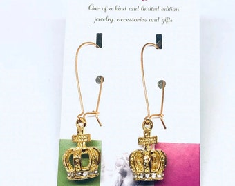 Crown gold earrings, boutique jewelry,