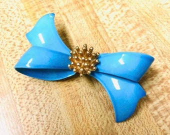 Vintage blue ribbon bow brooch