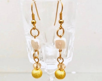 Gold pearl drop earrings, fresh water pearl, boutique jewelry