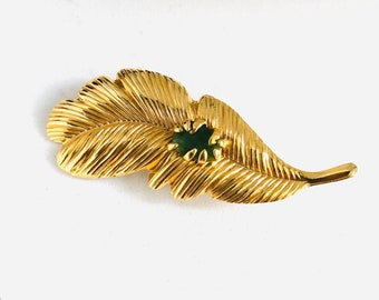 Vintage gold leaf brooch with gemstone