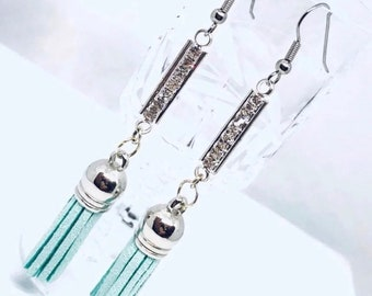 Long blue earrings with suede leather tassel and crystals, gift ideas, boutique earrings