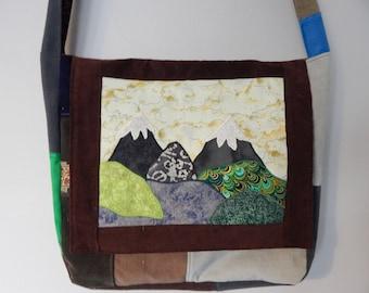 5e31e2d1698 Mountain Landscape Fiber Art Corduroy Patchwork Messenger Bag