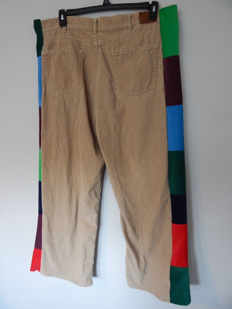 e5d8c3a334e Upcycled Mens Corduory Patchwork Pants Recycled Pants Mens