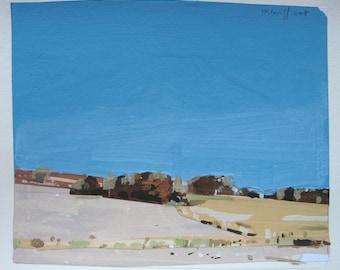 November, Original Small Landscape Collage on Paper, Stooshinoff