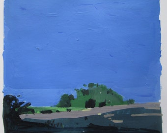 Evening Shadow, Original Summer Landscape Collage Painting on Paper, Stooshinoff