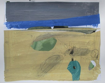 A Boy on the Way to School, Abstract Acrylic Collage Painting on Paper, Stooshinoff