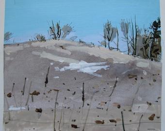 Little Snow Patch, Original Landscape Collage Painting on Paper