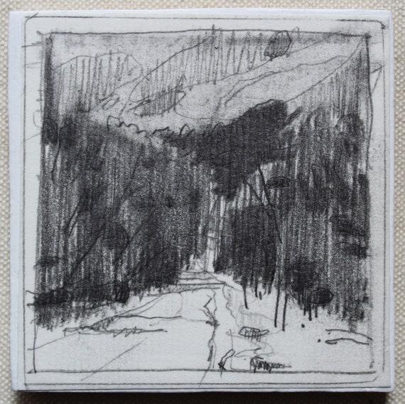June Stand Stooshinoff Fridge Magnet Original Tiny Plein Air Pencil Drawing on Panel