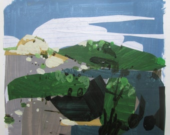 On Crocus Hill, Original Abstract Landscape Collage Painting on Paper, Stooshinoff