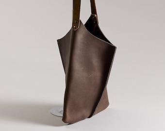 13in Wedge - Dark Chocolate bull hide leather