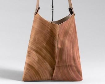 13in Wedge bag - Redwood hand painted leather shoulder bag