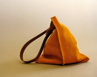 16in Wedge - Turmeric yellow orange suede purse