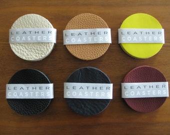 Thick leather coasters - 6 Coaster set