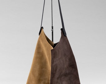 13in Wedge - Cashew & Dark Chocolate - Duocolor suede wedge bag - one of a kind