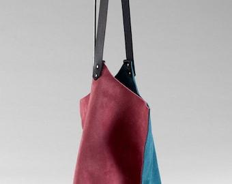 13in Wedge - Azalea & Teal - Duocolor suede wedge bag - one of a kind