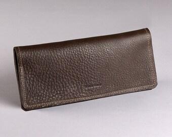 Long Mesa wallet - Dark chocolate hide leather