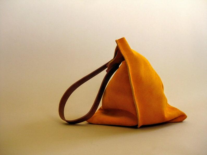Turmeric yellow orange suede purse 16in Wedge