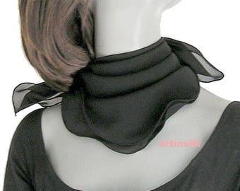 """Black Small Scarf Silk Chiffon Square, Natural 100% Silk, 19X19 20X20"""" 21X21"""" 22x22"""" 23x23"""" , Artinsilk"""