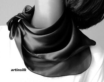 Black Silk Satin Charmeuse  Scarf,  Chocolate Brown Wavy Edge 21x21 Neck Scarf Petite Medium, Artisan Handmade, Artinsilk.