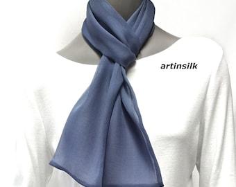 Gunmetal Gray Silk Chiffon Scarf, White Belt Pure Silk Chiffon 8mm,Bridal Formal Sash, White Cummerbund, Artinsilk