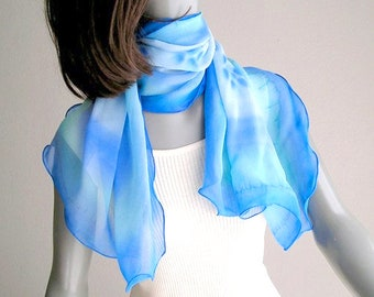 Sky Blue Scarf, Aqua Powder Blue, Lucite Blue Wrap, Hand Painted Silk, Scuba Turquoise, Petite Sheer Wrap, Unique Hand Dyed, Jossiani