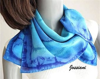 """Blue Aqua Unique Silk Scarf, Turquoise Hand Painted Silk Square 23x23"""" Crepe 12mm One of a Kind by Jossiani, Sapphire Aqua Hand Hemmed."""