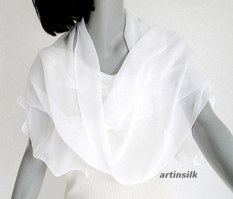 5130e41989b White Long Scarf, Bridal Formal Wrap, Light Ivory Scarf, Sheer White Scarf,  Long Chiffon Wrap, Pure Silk Shawl, Natural White Sash, 13