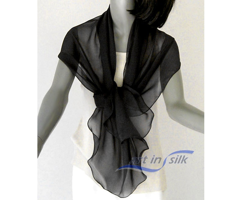 c31ee6c695e Black Wrap Scarf Shawl Silk Chiffon Small Stole, Pure 100% silk S M Small  Petite or Medium 20