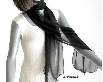 Long Black Scarf Sheer Sash, Silk Chiffon Tie, Wavy Edge, Pure Natural 100% Mulberry Silk, Artinsilk