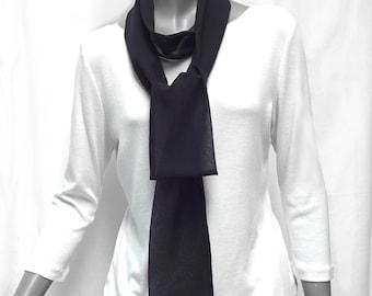 "Black Chiffon Skinny Scarf, Pure Silk Chiffon Tie Belt, Thin Long White Silk Sash Black Long Tie, White Waist Tie, 2.4x70"", 3x80"", 3x90."