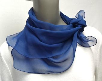 "Blue  Silk Chiffon Scarf Sheer  23x23""  Natural Silk, One of a kind Neck Kerchief, Artinsilk,"