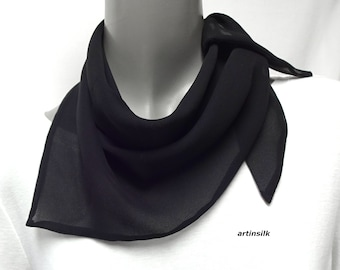 Black Silk Neck Scarf, Triangular Kerchief Red Headband, White or Blue Small Hair Ponytail Mulberry Silk, White Tie, Artinsilk