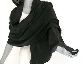 Black Shawl Pure Silk Crepe, Formal Evening Wrap S M L XL XXL Plus Size, Artinsilk